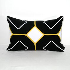 Black White Pillow Cover  Yellow Geometric Cushion  by Mazizmuse, $65.00
