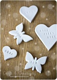 paper clay ornaments with hand stamping