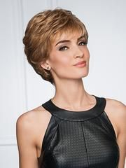"""GABOR¨ LUXURY WIGSType of Hair: SyntheticHead Size: AverageApprox. Weight: 2.58 oz Approx. Hair Length: Front-3"""", Crown-3.5"""", Sides-2.75"""", Nape-2.25"""" Color(s) Shown on Model(s): GL14-16 Description: Upper Cut Wig by Gabor... From the Gabor¨ Luxury line.. All over layered waves highlight this short textured basic cut with a Monofilament Crown for a natural contour.Special Features: Inside """"hidden"""" weft for a natural hairline. Wide velvet Comfort Band for added se..."""