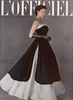 L'Officiel-December 1950  Model Bettina Graziani is wearing a Creation of Jacques Fath and photographed by Portier.French Fashion Magazine:L'Officiel,December 1950.
