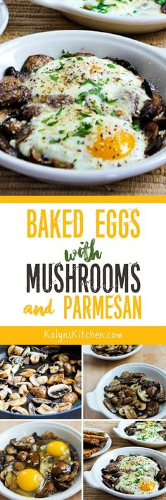 Baked Eggs with Mushrooms and Parmesan is delicious with some whole wheat toast, or if you skip the toast this can be low-carb, Keto, and gluten-free! Either way it's a delicious way to start the day. [found on KalynsKitchen.com] #BakedEggs #BakedEggsMushrooms #BakedEggsMushroomsParmesan