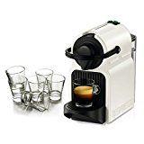 Nespresso Original Line Inissia White Espresso Maker Bundle with Set of 6 Espresso Glasses