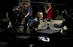 Heath Ledger and Christian Bale filming The Dark Knight