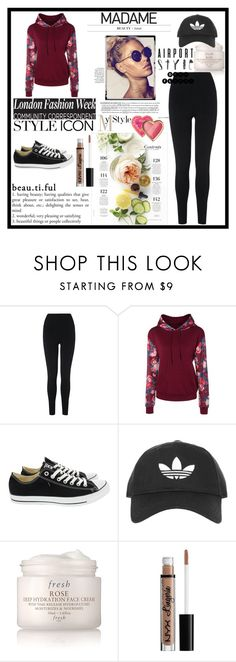 """""""In Bloom: Dark Florals"""" by sosfamforlife ❤ liked on Polyvore featuring L.K.Bennett, Converse, Topshop, Martha Stewart, Fresh, NYX, Too Faced Cosmetics and darkflorals"""