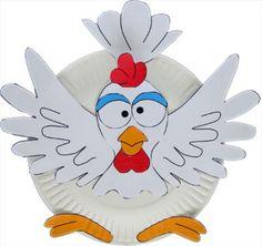 weißer Huhn aus papier gemacht - idee für basteln im kindergarten