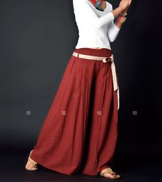 Red women Pants wide leg pants fashion skirt pants Linen pants. $58.50, via Etsy.
