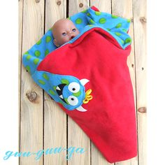 child's baby toddler monster blanket red blue green by GuuGuuGa