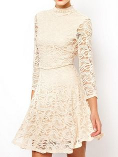 Beige Hollow Out Lace Backless Dress