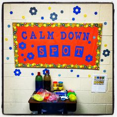 Sensory Station- Cool down spot. Not the colors or bulletin board though