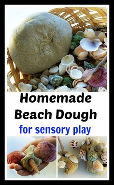 Recipe for hpmemade sandy beach dough for sensory play. Make creatures and enjoy exploring the texture. Creative play and fine motor play for preschoolers while they make creatures using natural supplies. #sensoryactivities