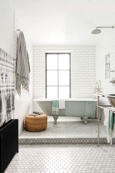 05 grey subway tiles and hex tiles for a peacful look - DigsDigs