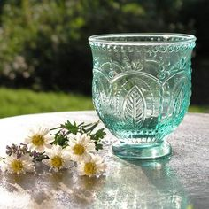 Very pretty small hurricane tea light holder in turquoise coloured glass. Aqua Glass, Turquoise Glass, Turquoise Color, Glass Votive, Hurricane Glass, Tea Party Bridal Shower, Tea Light Holder, Colored Glass, Interior And Exterior