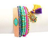 SS14 Evil Eye Bracelet,Hamsa,Beadwork,Swarovski,Silk Tassel Charm,Gemstone,Bohemian Indian Boho Chic Multiple rows Friendship Bracelet