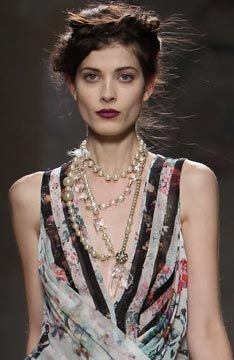 Punk pearls layered with crystal at Nicole Miller S/S 2014 #NYFW