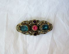 Antique Czecho Brooch Collar Coat Pin with by MargsMostlyVintage, $43.00