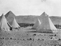 Mena Camp in Egypt, with the pyramids in the background Man About Town, First Girl, Egypt, War