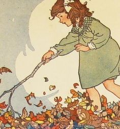 Autumn Leaves - Playing in the Leaves - 4 Assorted Blank Notecards Reincarnated from Vintage Children's Illustrations. $15.50, via Etsy.
