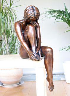 Large Apres Le Bain Bronze Sculpture - Nude Female Figurine. Buy now at http://www.statuesandsculptures.co.uk/large-kylie-bronze-sculpture-erotic-nude-female-modern-figurine