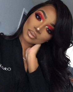 Red smokey eyeshadow with gold in tear ducts ~ hilall Red Makeup Looks, Makeup For Black Skin, Black Girl Makeup, Cute Makeup, Girls Makeup, Gorgeous Makeup, Pretty Makeup, Hair Makeup, Makeup Eyebrows