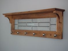 Coat rack or door-bath towels in wood and stained glass with 6 hooks and shelf on top. by NathliseCreations on Etsy https://www.etsy.com/listing/230246280/coat-rack-or-door-bath-towels-in-wood