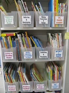 Read aloud book baskets organized by what comprehension strategy/subject to teach with them.