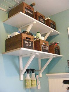 Shelves for the laundry room. The Complete Guide to Imperfect Homemaking: {OrganizedHome} Day Laundry Room Organization Casa Stark, Organize Life, Home Design, Interior Design, Design Ideas, Modern Interior, Design Design, Interior Decorating, Sweet Home