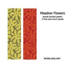 Pré fleurs - modèle de Bracelet Peyote Drop 2 - téléchargement immédiat