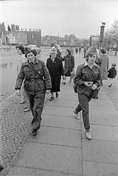 Women in uniform were much more commonplace in East Germany, here in East Berlin, that most other non-Communist countries. In that, the Communists may have been ahead of us.  But the women were not all that friendly, as these show.
