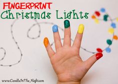 This fingerprint Christmas light craft is so cute!  How adorable would these look on Christmas cards??  | candleinthenight.com