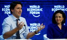 Canadian prime minister uses platform at World Economic Forum in Davos to stress importance of gender equality in politics and business