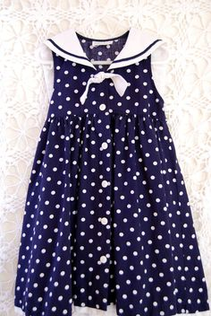 nautical wedding navy and white polka dot sailor flower girl dress. by petitlapinvintage, $8.00
