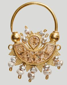 Crescent-shaped Earring, 10th century, gold, pearls, and cloisonné enamel, Provenance: Heraklion, Crete, Heraklion, Historical Museum of Crete