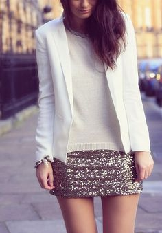 White with a neutral sequin skirt.