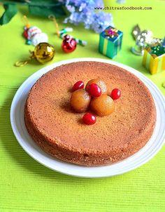 Eggless, butterless vanilla sponge Cake recipe with gulab jamun mix
