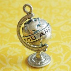 Vintage Enamel You Are My World Globe Spins Sterling Silver Mechanical Charm from A Genuine Find