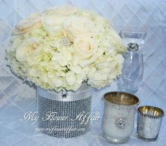 Wedding flowers and custom linens by My Flower Affair. www.myfloweraffai... wedding flowers, wedding decor, wedding flower centerpiece, wedding flower arrangement, bouquet white bling crystals