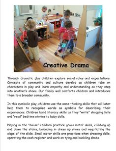 Creative Drama poster by Garden Gate Child Development Center ≈ ≈ For mor. - Mae Home Play Based Learning, Learning Through Play, Early Learning, Kids Learning, Eylf Learning Outcomes, Learning Stories Examples, Emergent Curriculum, Childcare Activities, Dramatic Play