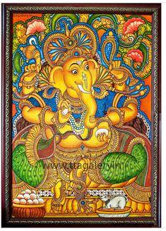 Ganesh, Shiva, Kerala, God, Artwork, Painting, Color, Dios, Work Of Art