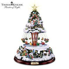 "Thomas Kinkade ""Winter Festival"" Rotating Musical Tree"