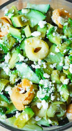Greek Tortellini Salad with Avocados and Cucumbers in a creamy Greek Salad Dressing.