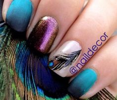 peacock nail art, peacock feathers, nail art how to, nail art tutorial, nail art video ~ NailIt! Nails Opi, Nails Polish, Get Nails, Fancy Nails, Love Nails, How To Do Nails, Pretty Nails, Nail Nail, Peacock Nail Art