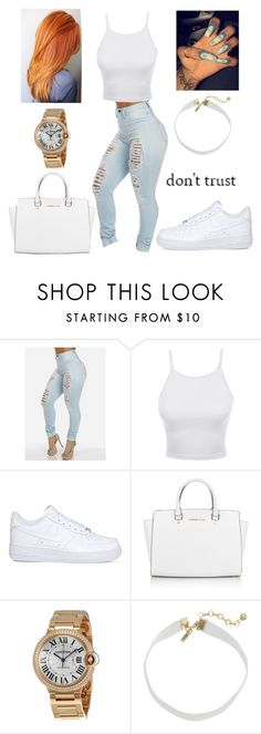 """""""Don't Trust"""" by imghtbeeblue ❤ liked on Polyvore featuring LE3NO, NIKE, Michael Kors, Cartier and Vanessa Mooney"""