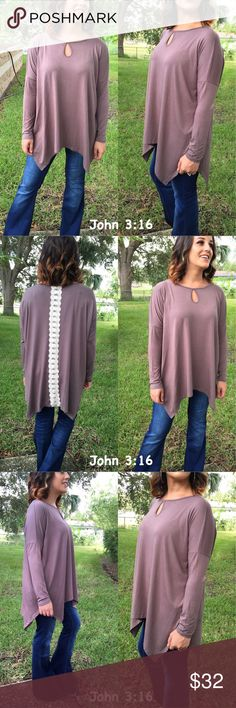 Mocha long sleeve tops In love with this item...Cozy and warm long sleeve tunic with lace detailing on back. Oversized fitting...This material feels amazing 70% cotton 30% spandex. Price is firm. Tops