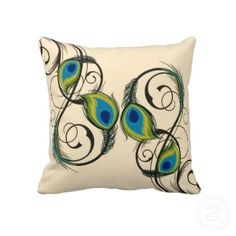 peacock+themed+bedroom | Peacocks Feather Dance Decorative Pillows