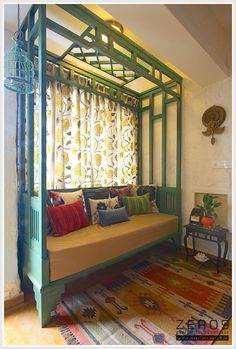 """antique painted """"parsi style"""" day bed tucked close to the window, a perfect spot to curl up and read a good book. - the east coast desi: Bespoke Design By ZERO9 (Home Tour)"""