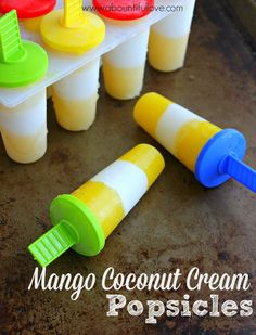 Homemade popsicle :Mango Coconut Cream Popsicles
