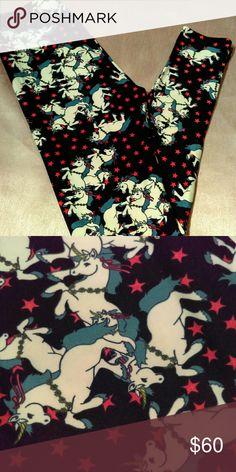 80's Unicorns & Stars! Lularoe legging OS Revisit your childhood by skipping on these super soft, cute leggings and then watching Fraggle Rock! Size OS fits women sizes 2-10. Background is a very dark blue. LuLaRoe Intimates & Sleepwear Pajamas