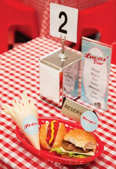 Awesome Retro Diner Party Birthday} with milk and cookies, hamburgers, milkshakes, classic checkboard tables, greaser glasses & sundae cupcakes! 1950 Diner, Retro Diner, Vintage Diner, Diner Party, Fifties Party, Retro Party, 50s Theme Parties, Party Themes, Grease Themed Parties