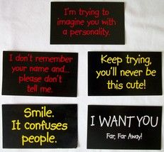 Stickers with 5 funny sayings