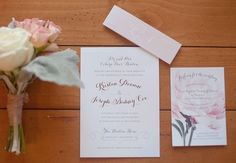 Delicate Pink and White Invitations   Bob Smith and Melanie Thortis   TheKnot.com